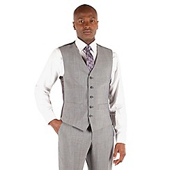 Ben Sherman - Silver grey panama slim fit kings suit waistcoat