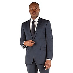 BEN SHERMAN - Deep blue puppytooth 2 button front slim fit kings suit jacket