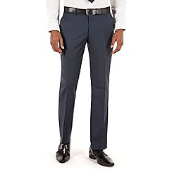 BEN SHERMAN - Deep blue puppytooth plain front slim fit kings suit trouser