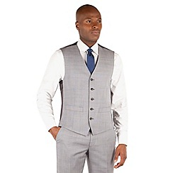 Ben Sherman - Grey heritage check 5 button front slim fit kings waistcoat