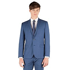 BEN SHERMAN - Mid blue textured 2 button front super slim fit camden suit jacket
