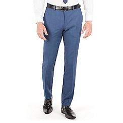 BEN SHERMAN - Mid blue textured plain front super slim fit camden suit trouser