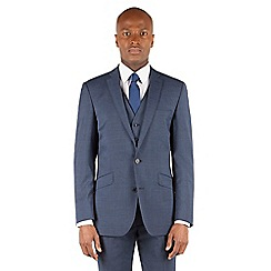 BEN SHERMAN - Dark blue textured 2 button front slim fit kings suit jacket