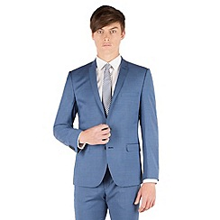 BEN SHERMAN - Bright blue check 2 button front super slim fit camden suit jacket