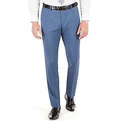 BEN SHERMAN - Bright blue check plain front super slim fit camden suit trouser