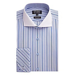 Stvdio by Jeff Banks - Stvdio by Jeff Banks Blue Patterned Stripe Shirt
