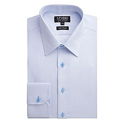 Stvdio by Jeff Banks - Stvdio by Jeff Banks Light Blue Feather Jacquard Shirt