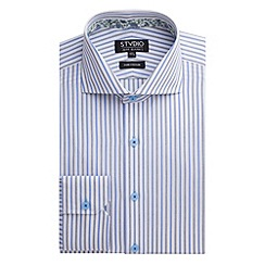 Stvdio by Jeff Banks - Stvdio by Jeff Banks Navy Textured Stripe Shirt