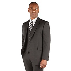 Centaur Big & Tall - Plain black twill big and tall 2 button front regular fit 3 piece suit