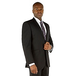 Racing Green - Plain black tailored fit 2 button suit jacket