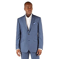 J by Jasper Conran - Blue linen 2 button front tailored fit summer suit jacket