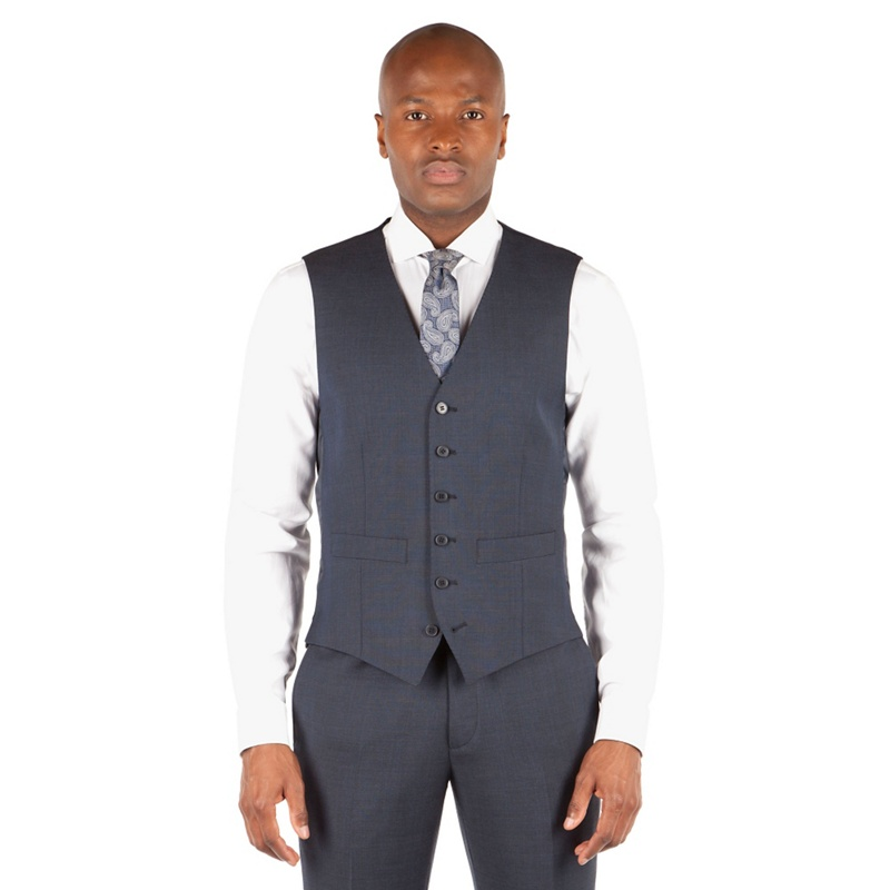 Hammond & Co. by Patrick Grant Navy tonal check 6 button tailored fit suit waistcoat