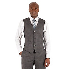 Hammond & Co. by Patrick Grant - Grey brown check 6 button tailored fit st james suit waistcoat