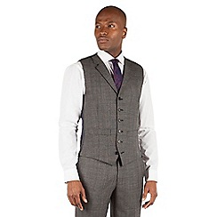Hammond & Co. by Patrick Grant - Hammond & Co. by Patrick Grant Grey check 6 button front tailored fit savile row suit waistcoat