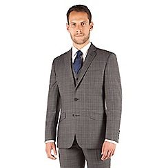 J by Jasper Conran - J by Jasper Conran Grey check 2 button front tailored fit occasions suit