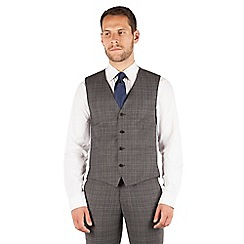 J by Jasper Conran - J by Jasper Conran Grey check 4 button front tailored fit occasions suit waistcoat