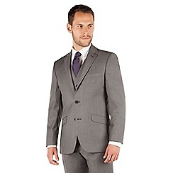 J by Jasper Conran - Grey pindot 2 button front tailored fit occasions suit jacket