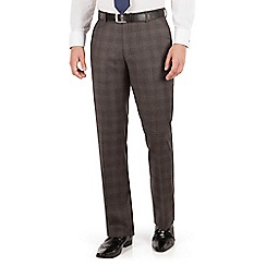 J by Jasper Conran - Brown check flat front tailored fit luxury suit trouser