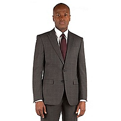 Stvdio by Jeff Banks - Stvdio by Jeff Banks Grey with burgundy overcheck 2 button front ivy league tailored fit suit jacket