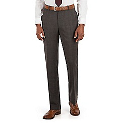 Stvdio by Jeff Banks - Stvdio by Jeff Banks Grey with burgundy overcheck flat front ivy league suit trouser
