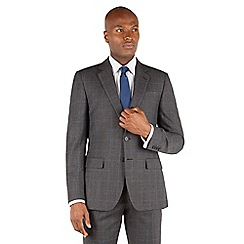 Stvdio by Jeff Banks - Grey with burgundy overcheck 2 button front ivy league tailored fit suit