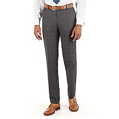 Stvdio by Jeff Banks - Stvdio by Jeff Banks Jaspe charcoal check with blue overcheck flat front ivy league suit trouser