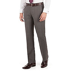 Jeff Banks - Jeff Banks grey with burgundy overcheck plain front regular fit black label suit trouser