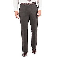 Jeff Banks - Jeff Banks Grey windowpane check plain front regular fit black label suit trouser