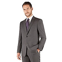 Jeff Banks - Jeff Banks Light grey stripe 2 button front regular fit luxury suit jacket