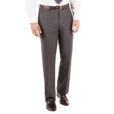 Jeff Banks Grey stripe plain front regular fit luxury suit