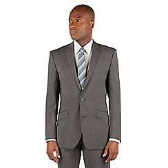 BEN SHERMAN - Ben Sherman Grey textured plain 2 button front slim fit kings suit jacket