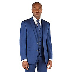 BEN SHERMAN - Bright blue plain 2 button front slim fit kings suit jacket.