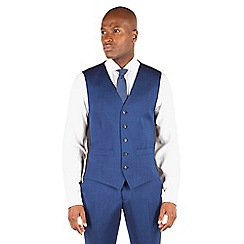 Ben Sherman - Bright blue plain slim fit kings suit waistcoat.