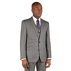 Ben Sherman - Ben Sherman Grey textured check 2 button front slim fit kings suit jacket.