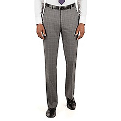 Ben Sherman - Ben Sherman Grey textured check plain front slim fit kings suit trousers