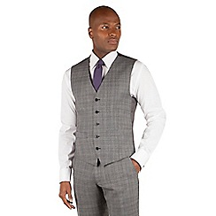 Ben Sherman - Ben Sherman Grey tectured check slim fit kings suit waistcoat