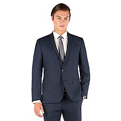 Ben Sherman - Ben Sherman Deep blue textured 2 button front super slim fit camden suit jacket