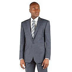BEN SHERMAN - Ben Sherman Slate blue heritage check 1 button front slim fit kings suit jacket