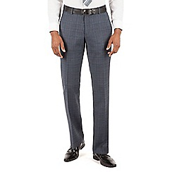 BEN SHERMAN - Ben Sherman Slate blue heritage check plain front slim fit kings suit trouser
