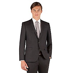 BEN SHERMAN - Ben Sherman Oatmeal brown textured 2 button front super slim fit camden suit jacket