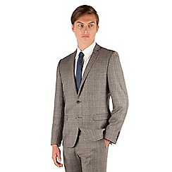 Ben Sherman - Ben Sherman Oatmeal heritage check 2 button front super slim fit camden suit jacket