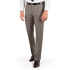 Ben Sherman - Ben Sherman Oatmeal heritage check plain front super slim fit camden suit trouser