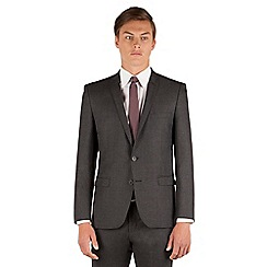 Ben Sherman - Ben Sherman Charcoal tonal jaspe check 2 button front super slim fit camden suit jacket