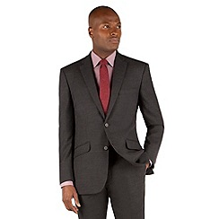 Racing Green - Charcoal flannel tailored fit 2 button suit jacket