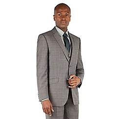 Racing Green - Racing Green Grey with oatmeal overcheck tailored fit 2 button suit jacket