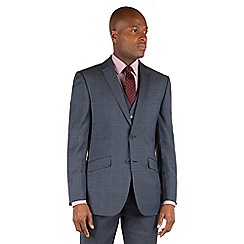 Racing Green - Racing Green Slate blue tonal check tailored fit 2 button suit jacket