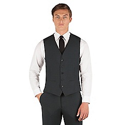Red Herring - Red Herring Teal tartan check 5 button slim fit waistcoat