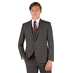 Red Herring - Red Herring Charcoal check 2 button front slim fit suit jacket