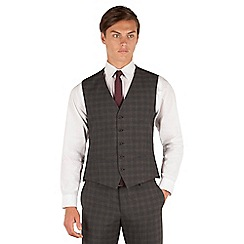 Red Herring - Red Herring Charcoal check 5 button slim fit suit waistcoat
