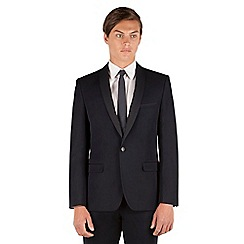 Red Herring - Red Herring Navy plain contrast shawl collar slim fit 1 button jacket